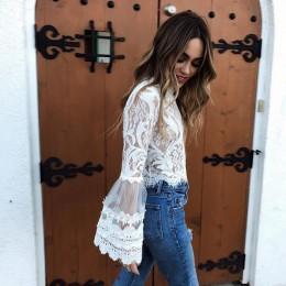 2019 w nowym stylu mody lato bell rękaw sznurowane crop topy sexy o-neck biały bluzki damskie koszule