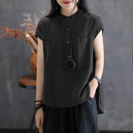 2019 ZANZEA kobiety lato bluzka pracy OL Blusas solidna koszula z mieszanki bawełny i lnu na co dzień z krótkim rękawem topy Cam