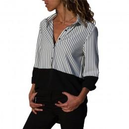 Kobiety bluzki 2019 w paski bluzka damska popy i bluzki z długim rękawem skręcić w dół kołnierz biuro bluzka koszula Blusas Tuni
