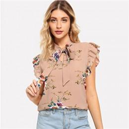 SHEIN falbanką na ramię wiązanej szyi kwiatowy bluzka różowy wzburzyć bez rękawów szyfonu bluzki kobiety lato na co dzień elegan