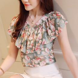 2018 moda lato bluzki damskie koszule Plus rozmiar topy w kwiaty damskie z krótkim rękawem szyfonowa Blusas Feminina potargane b