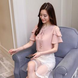 2019 moda łuk dekolt w kształcie litery v słodka odzież damska lato z krótkim rękawem szyfonowa bluzka damska bluzki czerwony ko