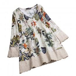 Duży rozmiar w stylu Vintage bluzka koszula kobiet kwiatowy Print Patchwork V Neck długi topy długie rękawy koronki łączenie blu
