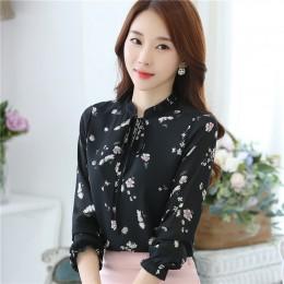Blusas Femininas 2018 moda kwiatowy popy i bluzki Mujer jesień z długim rękawem Femme koszule druku szyfonowa kobiety bluzki