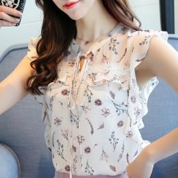 2019 moda lato kobiety bluzka koszula bez rękawów drukuj szyfonu kobiety topy blusas plus rozmiar odzież damska bluzki blusas 00