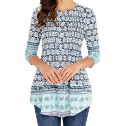 Wiosenna tunika koszula damska bluzka 3/4 rękawa plisowane letnia modna duże rozmiary luźna 5XL