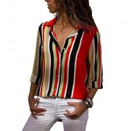 Rogi kobiety w paski przycisk bluzka Casual bluzki z długim rękawem koszule elegancka pani urząd luźna koszula topy tunika koszu