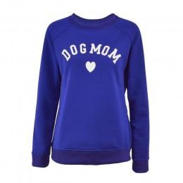 Pies mama kobiet Plus aksamitne modne z długim rękawem na co dzień bluza z nadrukiem w kształcie serca drukuj Kawaii bluza odzie