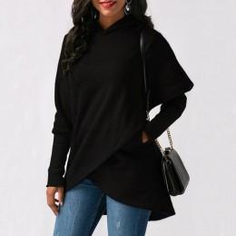 Kobiety list haftowane bluza z kapturem i kieszeniami