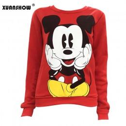 Bluza z kapturem Myszka Mickey Mouse z nadrukiem pulower luźny z długim rękawem