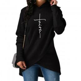 5XL jesień bluzy z kapturem bluzy z kapturem kobiety z długim rękawem wiary haft ciepłe bluza z kapturem topy Plus rozmiar na co