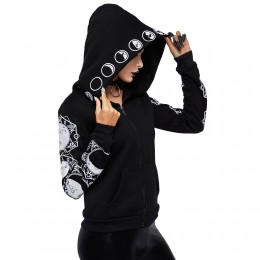 Sportowa dresowa bluza z regulowanym kapturem na zamek czarna w gotyckie wzory modna oryginalna