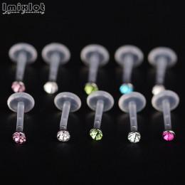 10 sztuk Bioplast elastyczne Labret wargi pierścień ucha Helix Tragus chrząstki szpilki Piercing mieszane kolor ciała Piercing b