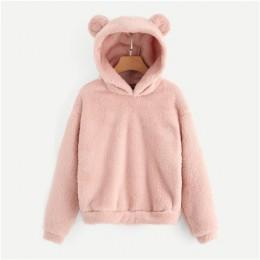 SHEIN różowy Preppy piękny z niedźwiedziami uszy stałe Teddy bluza z kapturem swetry bluza jesień kobiety stacjonarne w pełnym w