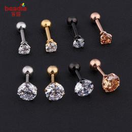 Nowa moda 2 sztuk/worek srebrny kryształ w złotym kolorze chrząstki kolczyk Helix ear Piercing Top górnej części ciała dla kobie