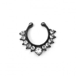Kryształ fałszywy nos pierścień czarny kolor okrągły przegrody Clicker Faux klip nie ciało Hoop dla kobiet w sprzedaży hurtowej