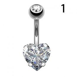 Pępka kolczyk brzucha Piercing stali nierdzewnej brzucha guzika pierścionki kryształ Piercing pępka w stylu serca Piercing sekso