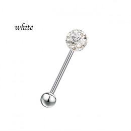 Ze stali chirurgicznej czeski kryształ piłka brzana Bar pierścień języka ciała szpilki Piercing Pin biżuteria