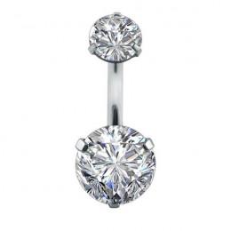 Podwójne moda kryształ kwiat brzucha guzika pierścionki AAA cyrkon ze stali chirurgicznej biżuteria Sexy pępka Piercing Ombligo