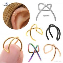 2 pcs 0.8/1.2x8mm X krzyż Helix Piercing kolczyk Orelha ze stali nierdzewnej Helix pierścień wargi fałszywe piercing ucha Pierci