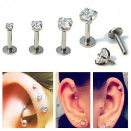 ZN 1 Pc srebrny Labret wargi pierścionek z cyrkonią anodowane wewnętrznie gwintowane Prong klejnot Monroe 16G Tragus Helix Ear P