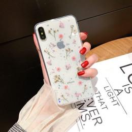 Prawdziwe suszone kwiaty etui na iPhone XR XS Max X 6 S 6 S 7 8 Plus 10 pokrowiec przezroczysty miękki TPU telefon tylna pokrywa