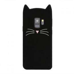 Śliczne brodaty kot silikonowe miękki futerał do Samsung Galaxy S8 S9 Plus S6 S7 krawędzi J3 J5 J7 Pro 2016 2017 3D uszy TPU tel