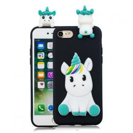 Przypadku dla iPhone 5 5S se iPhone 7 okładki 3D jednorożec krzemu etui na telefony komórkowe iPhone X 6 6S 8 Plus etui na telef