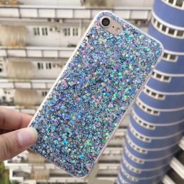 Modne eleganckie brokatowe etui na smartphona połyskująca ochronna obudowa silikonowa na telefon kolor różowy srebrny