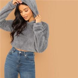 SHEIN szary, minimalistyczny, jednolity spadek ramię Crop Teddy bluza z kapturem bluza jesień na co dzień kobiety mody swetry bl