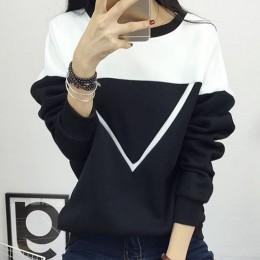 2019 zima nowa moda czarny i biały urocze kolorowe bluzy patchworkowe damskie V wzór swetry bluza kobiet dres M-XXL
