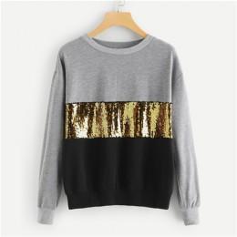 SHEIN Multicolor kontrast cięcia i szycia cekiny bluza z kapturem na co dzień Colorblock z długim rękawem swetry damskie bluzy z