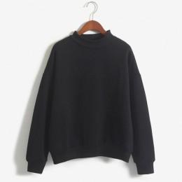 9 kolory zima jednolity kolor wokół szyi z długim rękawem aksamitne ciepłe bluzy kobiety koreański styl luźne bluzki z kapturem
