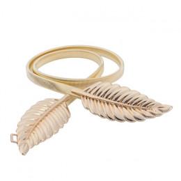 Kobiety metalowy pasek w stylu vintage Leaf shape modny stylowy metalowy złoty/srebrny, liście, projekt, łańcuszek do spodni kob