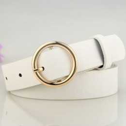 Badinka nowy złoty okrągły metalowy koło pas kobiet złoty srebrny czarny biała skóra PU paski dla kobiet dżinsy spodnie sprzedaż