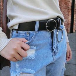 Gorące złoto okrągłe paski ze sprzączką kobiece spodnie rekreacyjne dziki pas bez pin metalowa klamra brązowy skórzany czarnym p