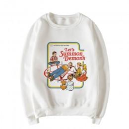 Przez wzywania demonów bluzy zima, żeński, moda amerykańska kreskówka na co dzień w stylu Vintage swetry z długimi rękawami O-Ne