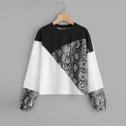 SHEIN kolor bloku skóry węża bluza Preppy okrągły Neck z długim rękawem swetry damskie jesień wielokolorowe bluzy