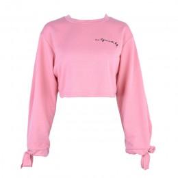 """Krótkie topy bluzy dla kobiet lato na co dzień z długim rękawem i dekoltem w kształcie litery """"o"""" koszula haftowana biały, różow"""