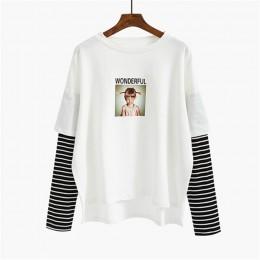 Nowy przyjazd 2018 wiosna damska cartoon drukowane litery bluzy z kapturem bluza z długim rękawem o-neck bluzy szwy kolor topy