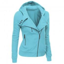 LITTHING wiosna zamek ciepłe moda bluzy z kapturem bluzy damskie z długim rękawem bluzy z kapturem kurtki z kapturem Jumper płas