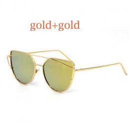 2019 Cat Eye Vintage marka projektant lustro w kolorze różowego złota okulary przeciwsłoneczne dla kobiet Metal odblaskowe okula
