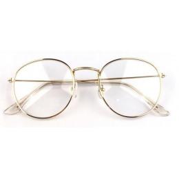 Modne okulary damskie optyczne zerówki metaliczne delikatne cienkie oprawki okrągły kształt kolor złoty srebrny czarny