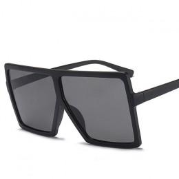 Modne okulary przeciwsłoneczne czarne kwadratowe w stylu Vintage duże ramki gradientowe