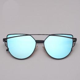 LeonLion marka projektant okulary Cat eye kobiety w stylu Vintage Metal odblaskowe okulary dla kobiet lustro Retro óculos De Sol