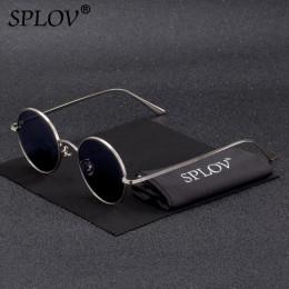 SPLOV w stylu Vintage mężczyźni okulary przeciwsłoneczne damskie Retro w stylu Punk okrągła metalowa ramka kolorowe soczewki oku
