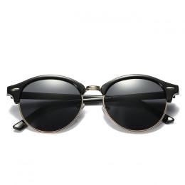 Okulary przeciwsłoneczne oryginalne modne okrągłe unisex lustrzane czarne niebieskie żółte srebrne