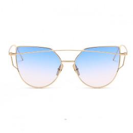 ZUCZUG okulary przeciwsłoneczne damskie luksusowe Cat eye marka projekt lustro płaskie złota róża rocznika Cateye modne okulary
