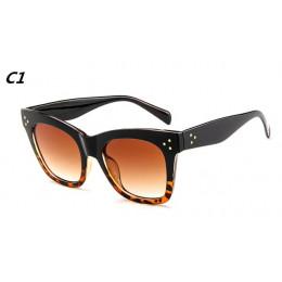 Eleganckie damskie okulary przeciwsłoneczne oryginalny wzór klasyczne kolory czarny brązowy panterka