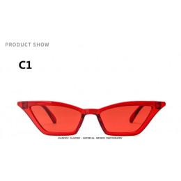 Stylowe okulary przeciwsłoneczne damskie wąskie bez ramkowe z kocimi kolorowymi szkłami czarne czerwone w panterkę